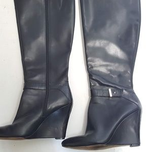 Ann Taylor black leather wedge boots Sz 7